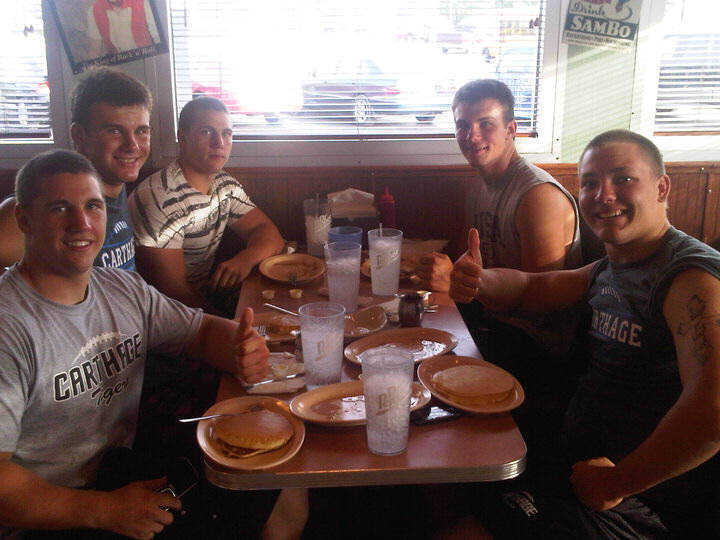 Carthage Football Team enjoying All You Can Eat Pancakes !!