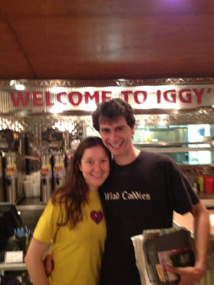 Visiting Iggy's Diner, Amy is from Ireland, David is from Portugal. But they met in London England. They are touring Route 66.