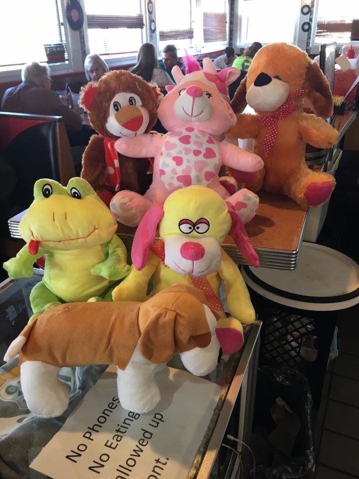 Tony won all these on the crane game in the lobby and gave to Tab to take home for kids!